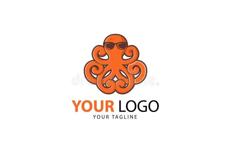 Het ontwerp van de het embleemmascotte van de octopusgezondheid stock illustratie