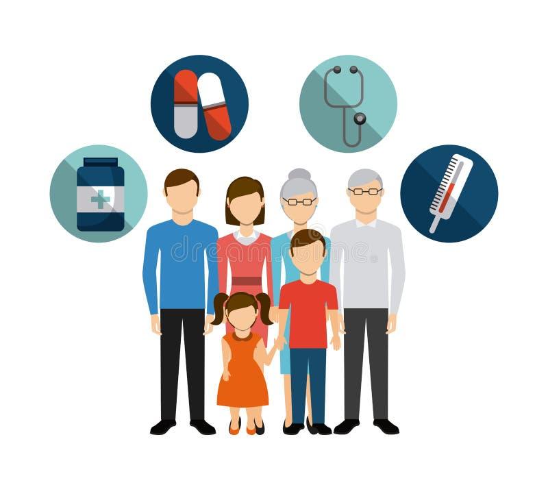 Het ontwerp van de familiegezondheidszorg vector illustratie