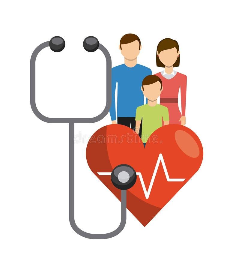 Het ontwerp van de familiegezondheidszorg royalty-vrije illustratie