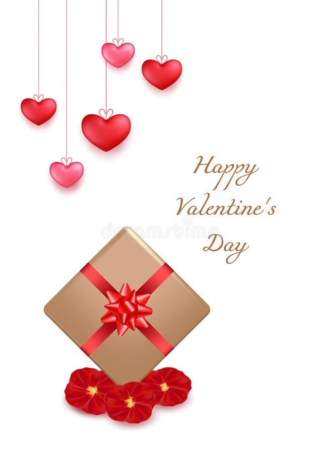 Het ontwerp van de de groetkaart van de valentijnskaartendag in 3d stijl op witte achtergrond Het hangen van rode harten met goud royalty-vrije illustratie