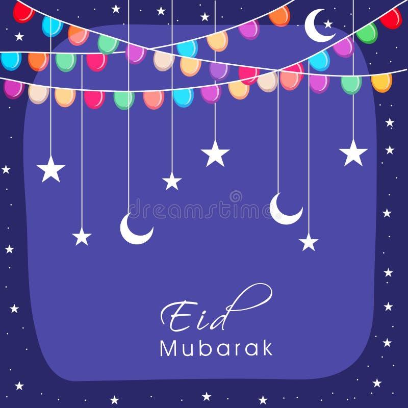 Het ontwerp van de groetkaart voor Eid Mubarak-viering vector illustratie