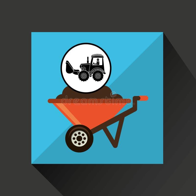 Het ontwerp van de het conceptenkruiwagen van de bouwvrachtwagen vector illustratie