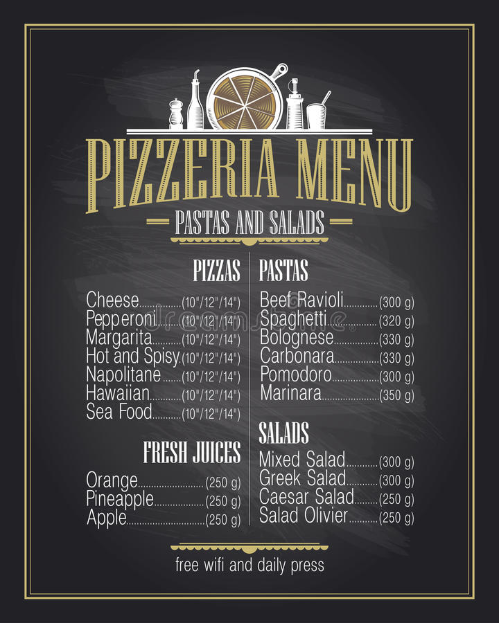 Het ontwerp van de het menulijst van de krijtpizzeria royalty-vrije illustratie
