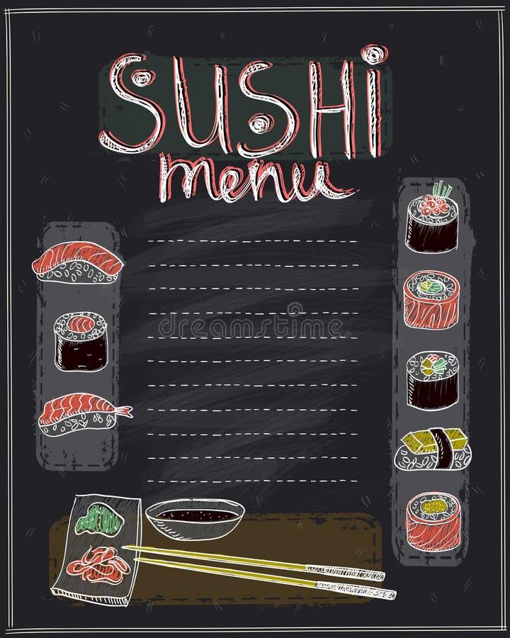 Het ontwerp van de het menulijst van krijtsushi royalty-vrije illustratie