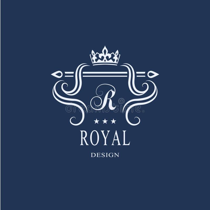 Het ontwerp van de het Monogramluxe van de lijnkunst, bevallig malplaatje Kalligrafisch elegant mooi embleem Koninklijke stijl He royalty-vrije illustratie