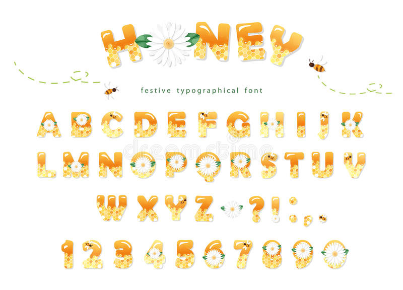Het ontwerp van de honingsdoopvont De glanzende zoete die letters en de getallen van ABC op wit worden geïsoleerd vector illustratie
