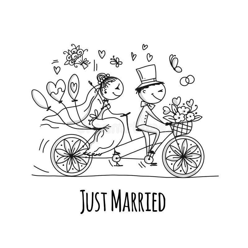 Het ontwerp van de huwelijkskaart Bruid en bruidegom die op fiets berijden vector illustratie