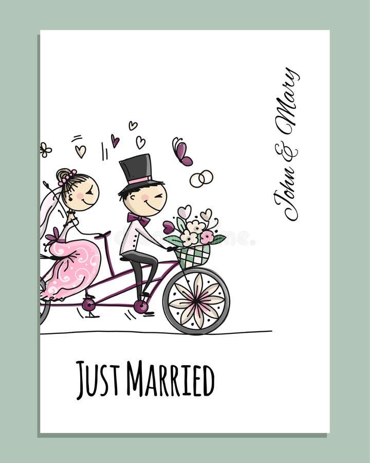Het ontwerp van de huwelijkskaart Bruid en bruidegom die op fiets berijden royalty-vrije illustratie