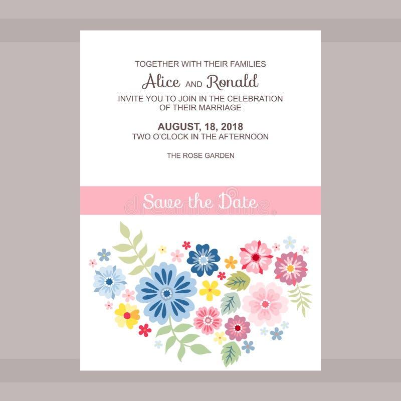 Het ontwerp van de huwelijksuitnodiging Kaart met plaats voor tekst en heldere bloemen Vector Malplaatje vector illustratie