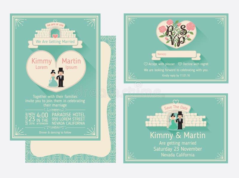 Het Ontwerp van de huwelijksuitnodiging met de Poort van Liefde en de Muren royalty-vrije illustratie