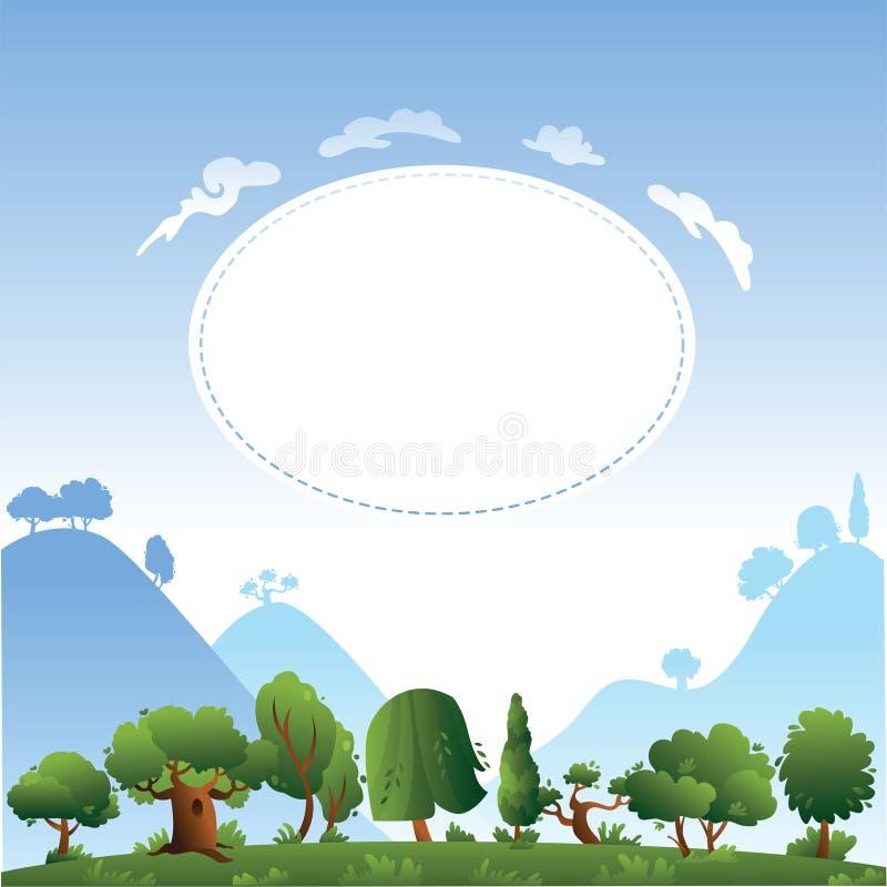 Het ontwerp van de kaart met bomen en heuvels royalty-vrije illustratie