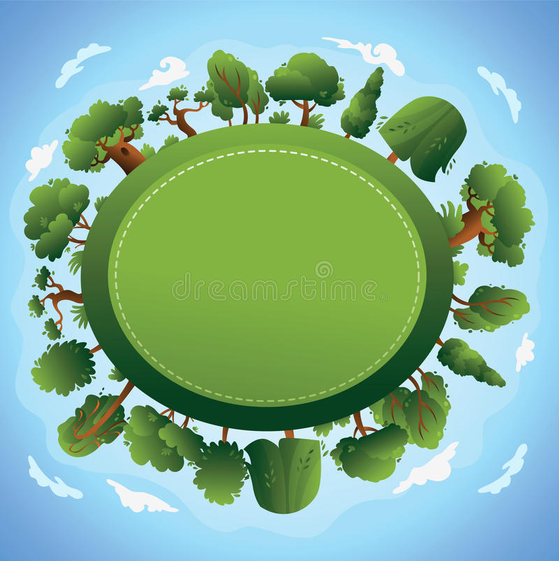 Het ontwerp van de kaart met bomen en wolk. stock illustratie