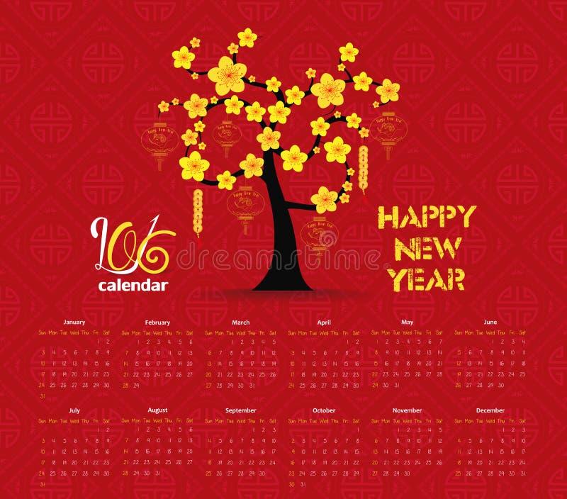 Het ontwerp van de kalender 2016 boom voor Chinese Nieuwjaarviering vector illustratie