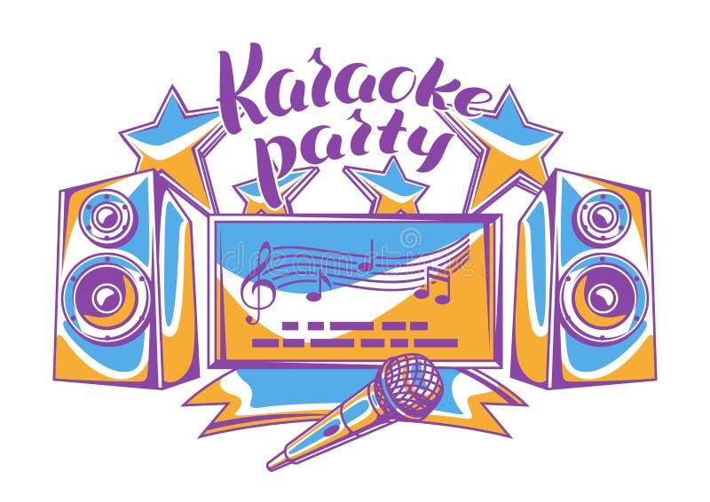 Het ontwerp van de karaokepartij De achtergrond van de muziekgebeurtenis Illustratie in retro stijl vector illustratie