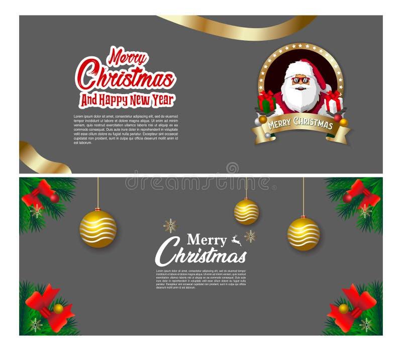 Het ontwerp van de Kerstmisbanner met de Kerstman brengt de vector van de giftdecoratie royalty-vrije illustratie