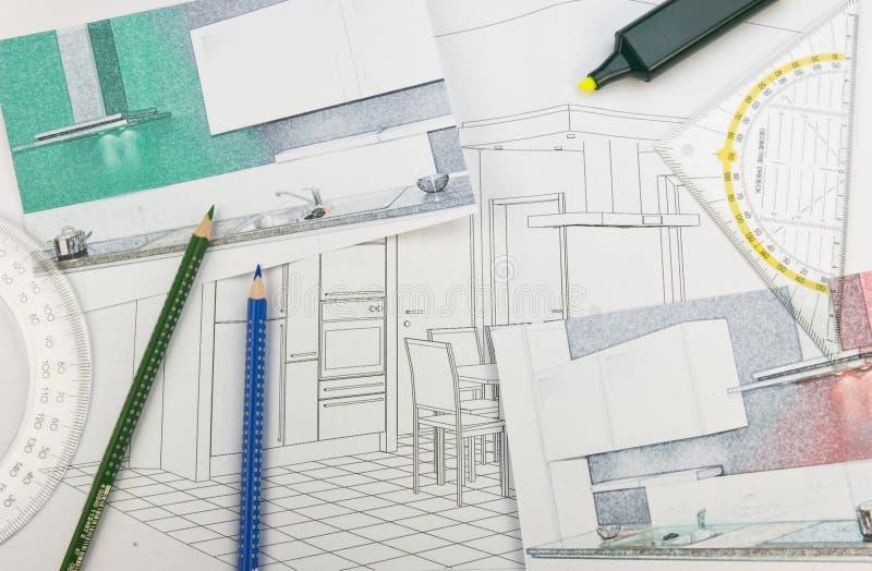 Het ontwerp van de keuken royalty-vrije stock afbeeldingen