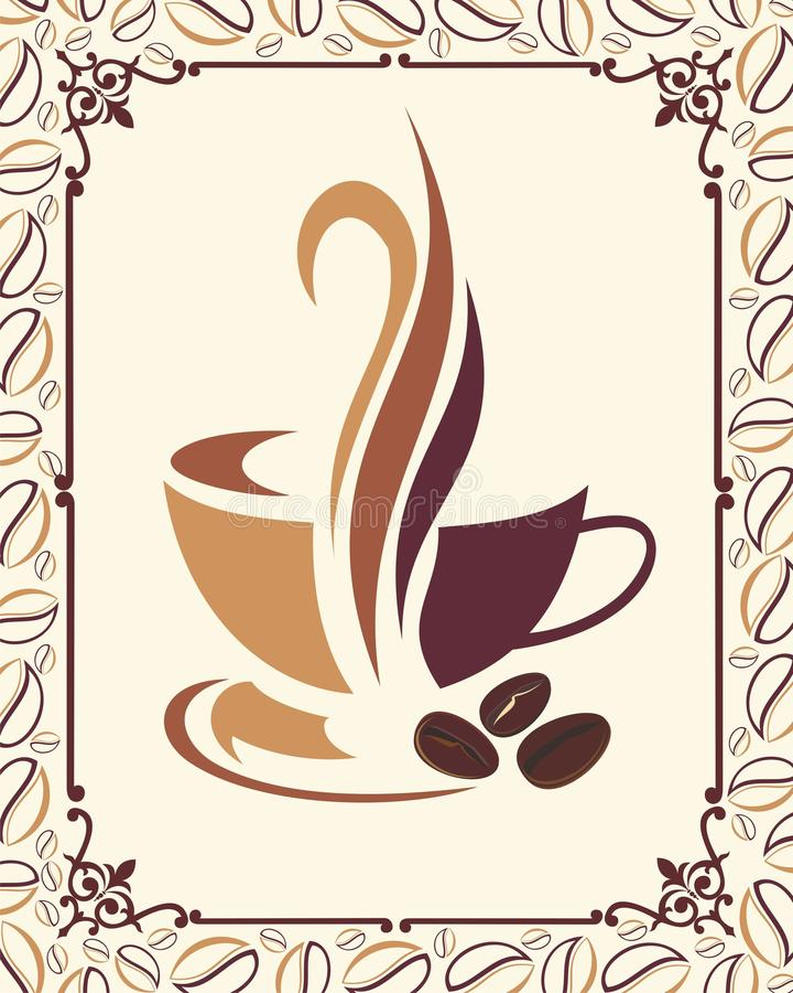 Het ontwerp van de koffie met bonenframe royalty-vrije illustratie