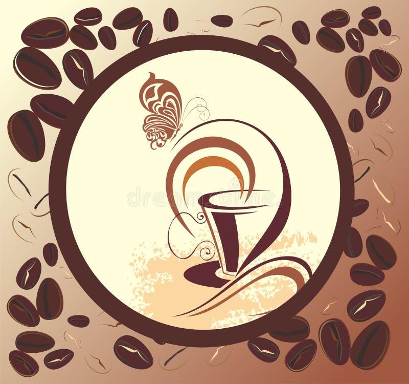 Het ontwerp van de koffie met bonenframe en vlinder stock illustratie