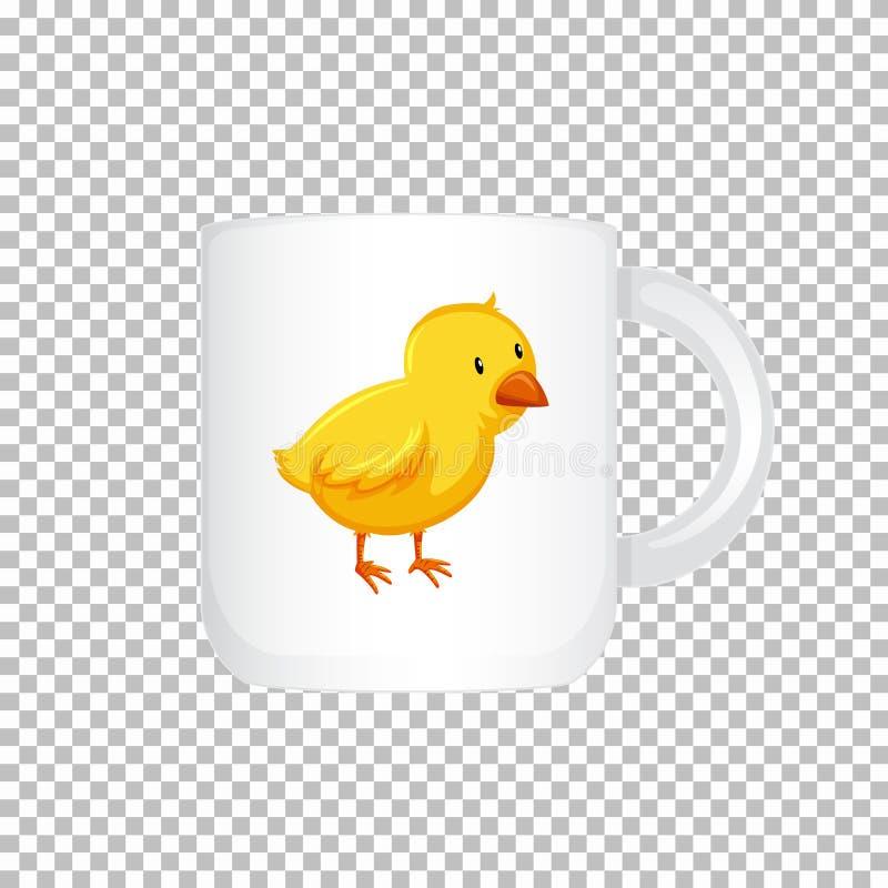 Het ontwerp van de koffiekop met weinig grafisch kuiken vector illustratie