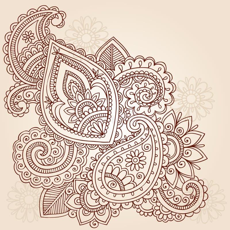 Het Ontwerp van de Krabbel van de Tatoegering van Mehndi Paisley van de henna stock illustratie