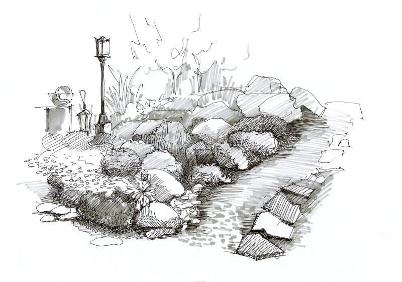 Het ontwerp van de landschapstuin met stenen, met een straatlantaarn en een gree royalty-vrije illustratie