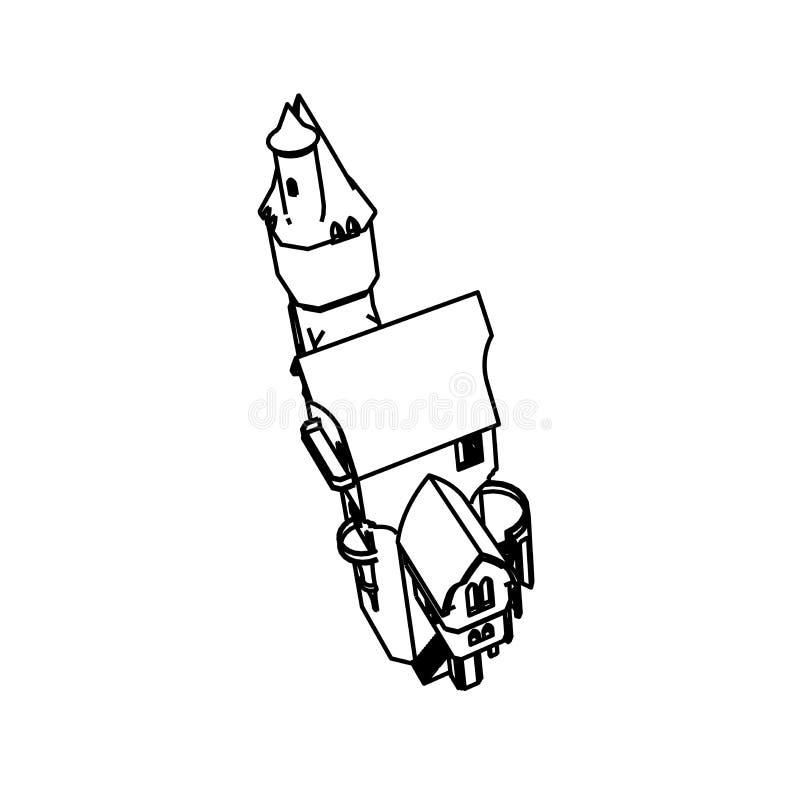 Het ontwerp van de lijnkunst van Burg vector illustratie