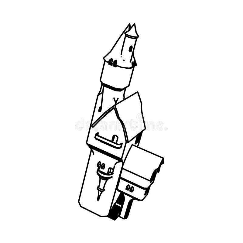 Het ontwerp van de lijnkunst van Burg royalty-vrije illustratie