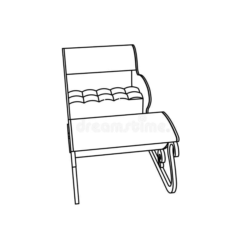Het ontwerp van de lijnkunst van Santa Sleigh royalty-vrije illustratie
