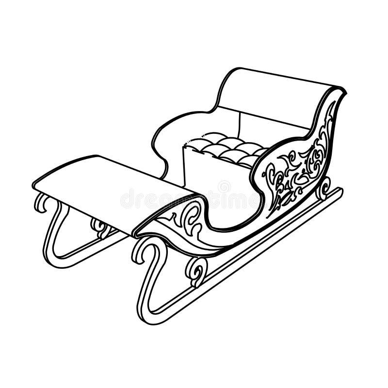 Het ontwerp van de lijnkunst van Santa Sleigh vector illustratie
