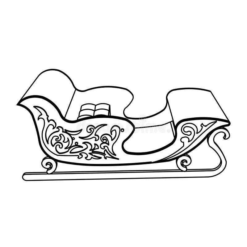 Het ontwerp van de lijnkunst van Santa Sleigh stock illustratie