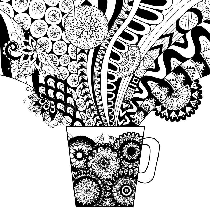 Het ontwerp van de lijnkunst van een mok van hete drank voor het kleuren van boek voor volwassene en andere decoratie stock illustratie