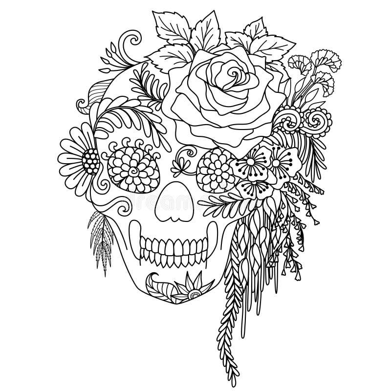 Het ontwerp van de lijnkunst van schedel verfraait met bloemen en bladeren die op witte achtergrond voor volwassen kleurend boek  royalty-vrije illustratie