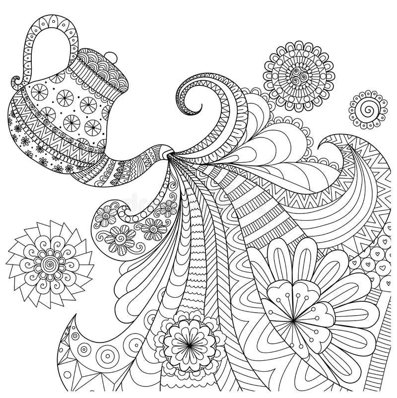 Het ontwerp van de lijnkunst van theepot gietende thee stock illustratie