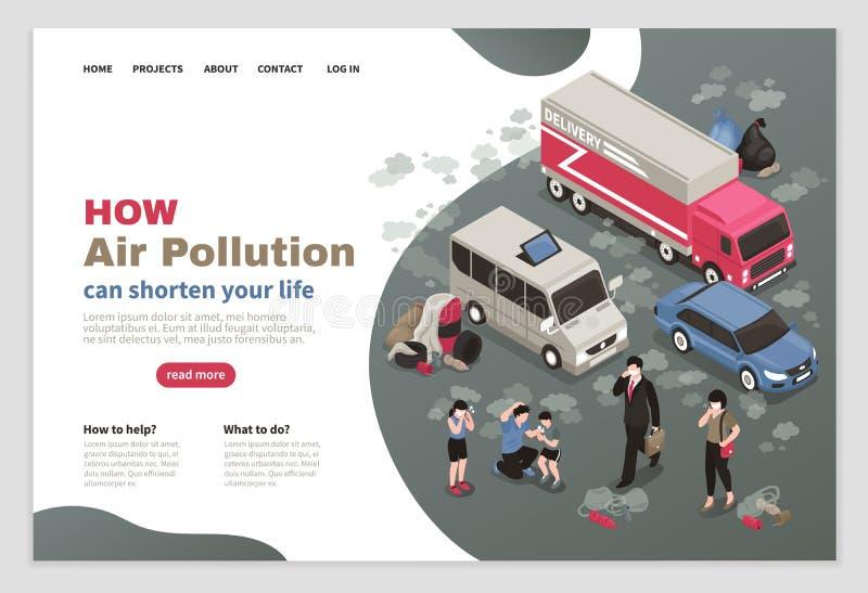 Het Ontwerp van de Luchtvervuilingspagina stock illustratie
