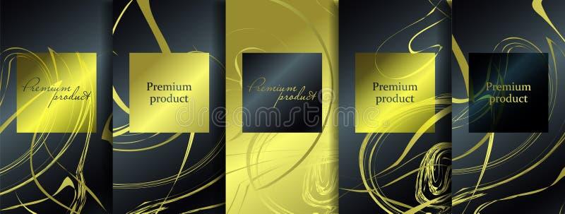 Het ontwerp van de luxepremie Vector vastgestelde verpakkende malplaatjes met verschillende textuur voor luxeproducten vector illustratie
