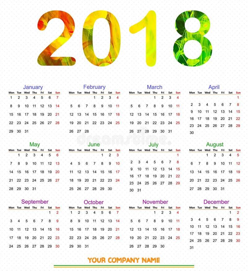 het Ontwerp 2018 van de 12 maandkalender vector illustratie
