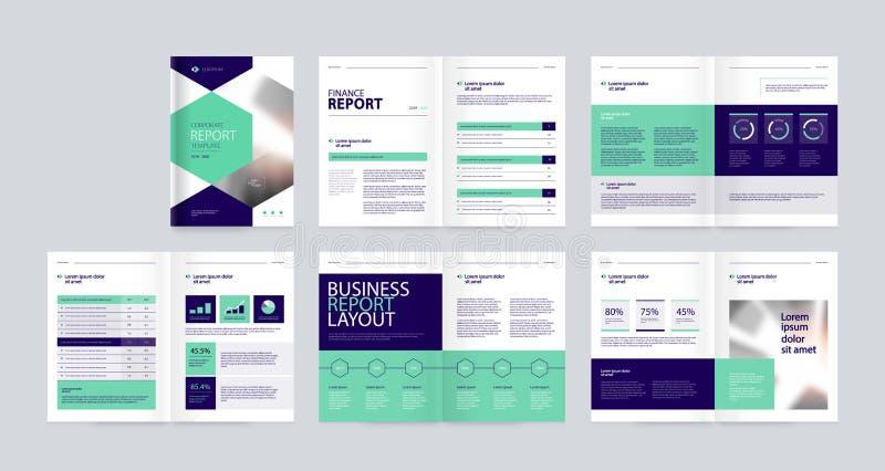 Het ontwerp van de malplaatjelay-out met dekkingspagina voor bedrijfprofiel, jaarverslag, brochures, vliegers, presentaties, pamf vector illustratie