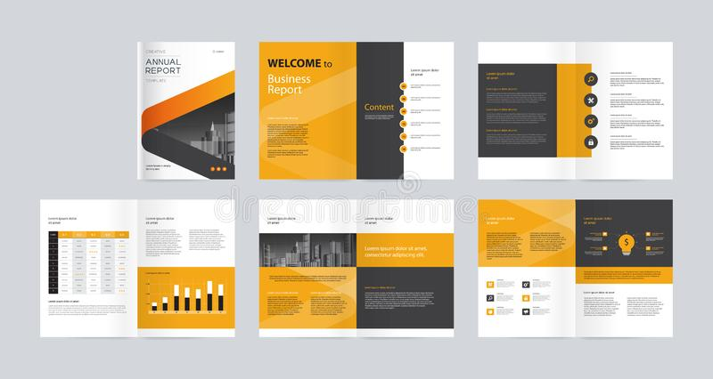 Het ontwerp van de malplaatjelay-out met dekkingspagina voor bedrijfprofiel, jaarverslag, brochures, vliegers, presentaties, pamf stock illustratie