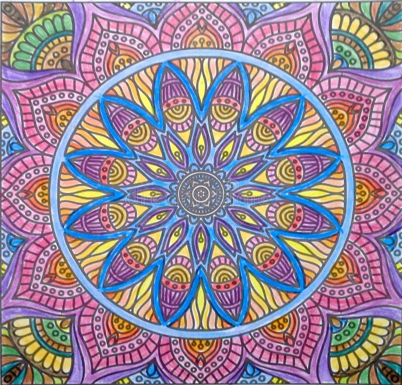Het ontwerp van de Mandalakunst volored royalty-vrije stock foto