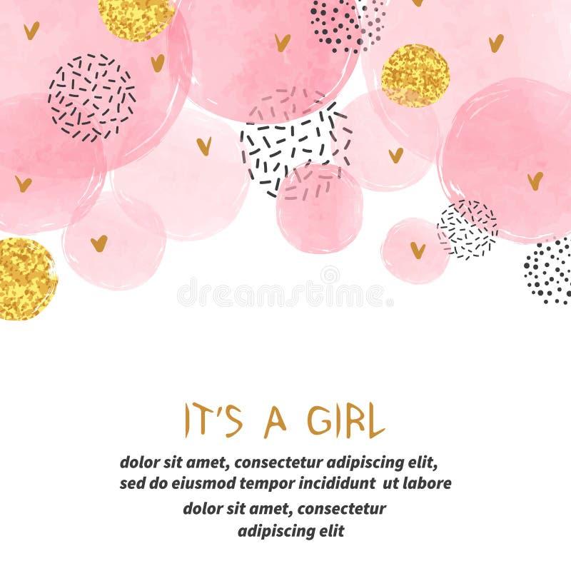 Het ontwerp van de het meisjeskaart van de babydouche met abstracte cirkels royalty-vrije illustratie
