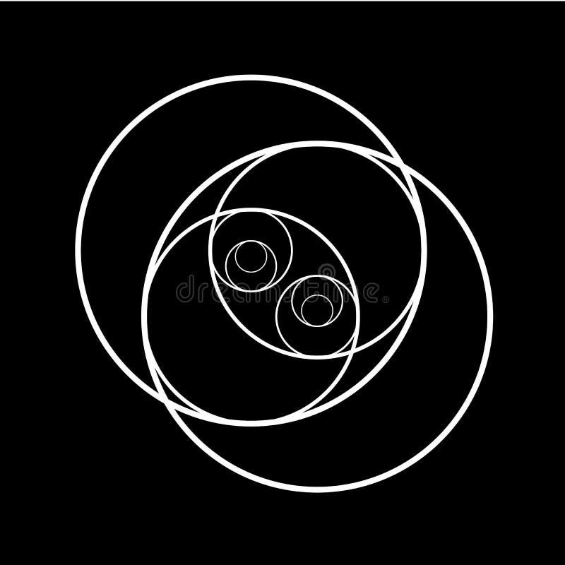 Het ontwerp van de Minimalisticstijl Gouden verhouding Geometrische vormen Cirkels in gouden aandeel Futuristisch ontwerp embleem royalty-vrije illustratie