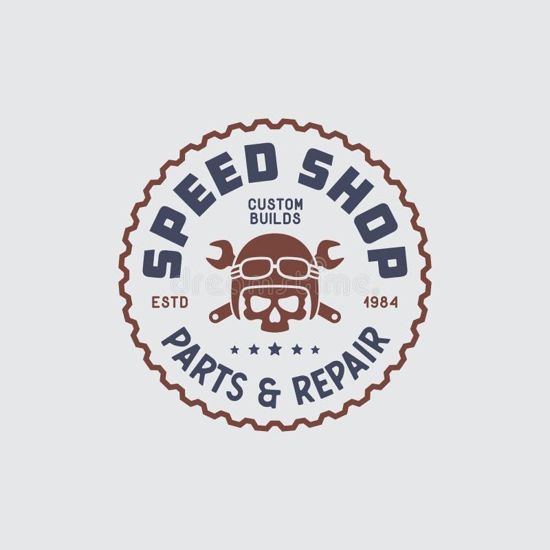 Het ontwerp van de motorfiets speedshop t-shirt Vector uitstekende illustratie vector illustratie