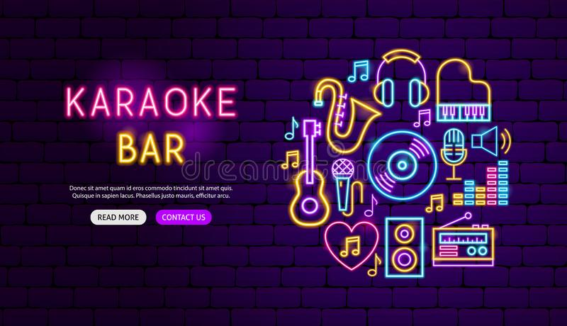 Het Ontwerp van de het Neonbanner van de karaokebar vector illustratie