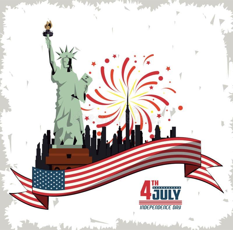Het ontwerp van de de onafhankelijkheidsdag van de V.S. vector illustratie