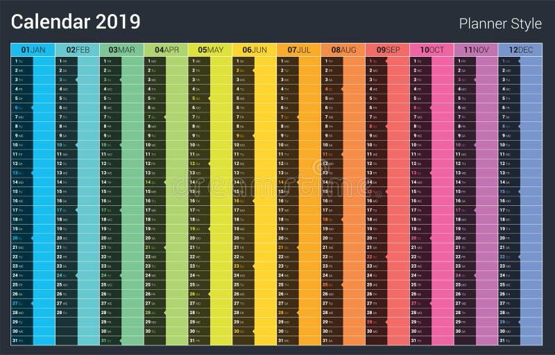 Het ontwerp van de ontwerpers 2019 Kalender Vector Volledige kleurenstijl Zondag weekend royalty-vrije illustratie