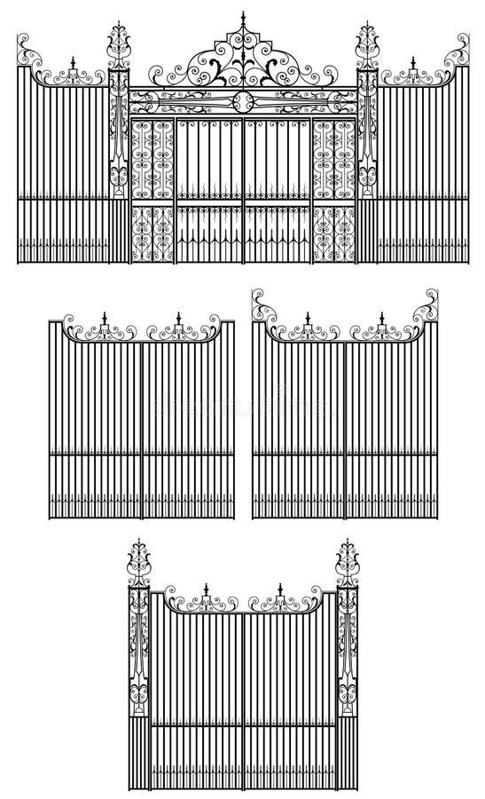 Het ontwerp van de overladen, smeedijzerpoort met decoratieve elementen vector illustratie