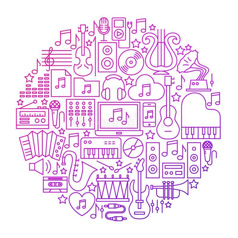 Het Ontwerp van de het Pictogramcirkel van de muzieklijn royalty-vrije illustratie