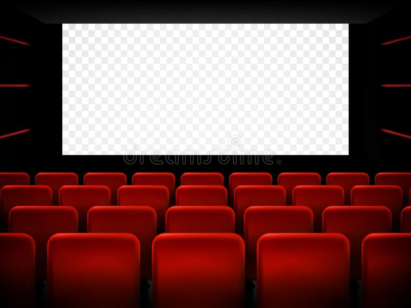 Het ontwerp van de de premièreaffiche van de filmbioskoop met het witte scherm Vector vector illustratie