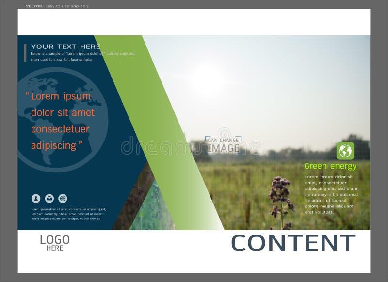Het ontwerp van de presentatielay-out voor de paginamalplaatje van de groendekking, Abstracte vector moderne achtergrond stock illustratie