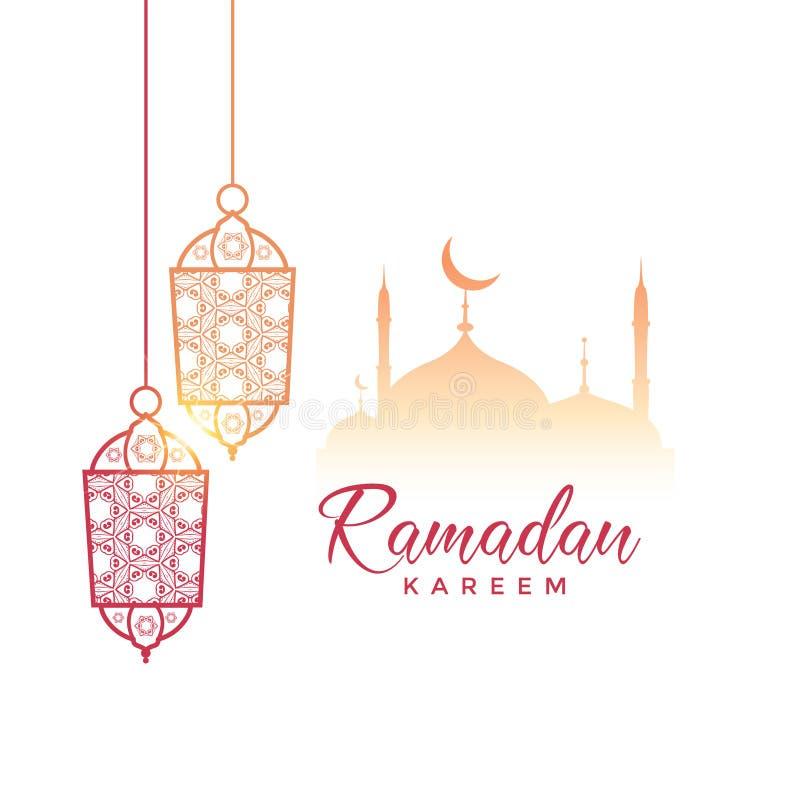 Het ontwerp van de Ramadan kareem groet met het hangen van lampen en moskee vector illustratie